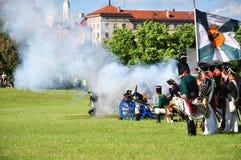 Reenacment del ejército magnífico de Napoleon Fotografía de archivo libre de regalías