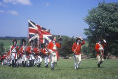 Reenactment войны за независимость в США, Freehold, Нью-Джерси, 218th годовщина сражения Monmouth, 1778 стоковые изображения