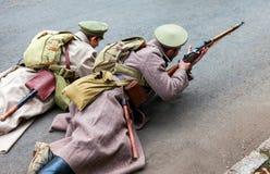 Reenactment вооруженные акции чехословацкого легиона в Стоковые Изображения RF