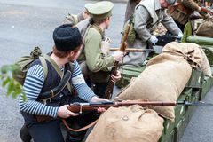 Reenactment вооруженные акции чехословацкого легиона в Стоковые Фотографии RF