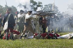 Reenactment of Attack on Redoubts 9 & 10. Re-enactment of Attack on Redoubts 9 & 10 where the major infantry action of the siege of Yorktown took place Stock Photos