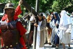 Reenactment av döden av Jesus Christ Royaltyfria Foton
