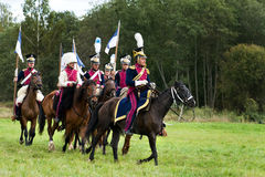 Reenactment battle of the Borodino in 1812 Royalty Free Stock Images