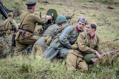 The reenactment of the battle of World war 2 between Soviet and German troops near Moscow. Royalty Free Stock Photography