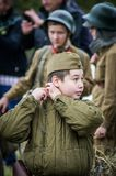 The reenactment of the battle of World war 2 between Soviet and German troops near Moscow. Stock Photos
