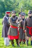 Reenactment of the Borodino battle between Russian Stock Photo