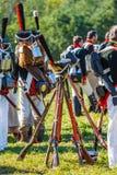Reenactment of the Borodino battle between Russian Royalty Free Stock Image