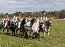 Reenactment of the Borodino battle between Russian and French armies in 1812. French cavalry at Borodino Royalty Free Stock Photos