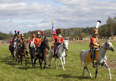 Reenactment of the Borodino battle between Russian and French armies in 1812. French cavalry at Borodino Stock Photography