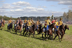 Reenactment of the Borodino battle between Russian and French armies in 1812. The Russian cavalry on the field of Borodino. Hussars Royalty Free Stock Images