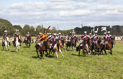 Reenactment of the Borodino battle between Russian and French armies in 1812. Russian Lancers attack Royalty Free Stock Photography