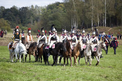 Reenactment of the Borodino battle between Russian and French armies in 1812. MOSCOW REGION, RUSSIA - SEPTEMBER 01, 2012: Reenactment of the Borodino battle Royalty Free Stock Photography