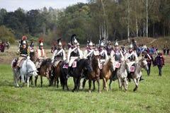 Reenactment Borodino bitwa między Rosyjskimi i Francuskimi wojskami w 1812 Fotografia Royalty Free