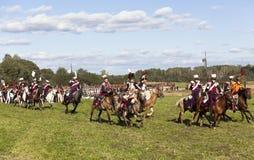 Reenactment Borodino bitwa między Rosyjskimi i Francuskimi wojskami w 1812 Zdjęcie Royalty Free