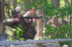 Reenactment da batalha da segunda guerra mundial Foto de Stock