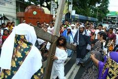 Reenactment of the death of Jesus Christ Stock Photo
