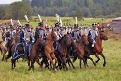 Reenactment histórico da batalha de Borodino em Rússia foto de stock