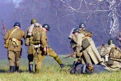 Reenactment histórico da batalha de Moscou Imagens de Stock