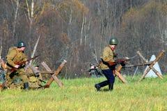 Reenactment histórico da batalha de Moscou Fotos de Stock