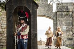 Reenactment histórico das guerras de Napoleão, em Burgos, Espanha, o 12 de junho de 2016 fotografia de stock royalty free