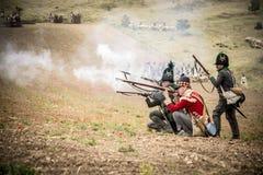 Reenactment histórico das guerras de Napoleão, em Burgos, Espanha, o 12 de junho de 2016 fotografia de stock
