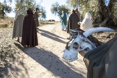 Reenactment of Iberian Goddess Ataecina ritual. Priestess with e Stock Photo