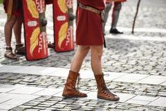 Reenactment med roman soldatlikformig arkivfoto