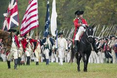 Reenactment of the siege of Yorktown. General Charles O'Hara with British flags surrenders to General George Washington at the 225th Anniversary of the Victory Stock Images