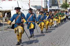 Reenactment: Swedish Carolean soldiers from 1700 Stock Image
