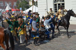 Reenactment: Swedish Carolean soldiers from 1700 Royalty Free Stock Image