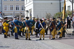 Reenactment: Swedish Carolean soldiers from 1700 Royalty Free Stock Photos