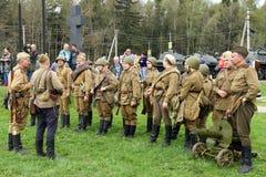 Reenactment of World War II events. royalty free stock photo