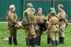Reenactment of World War II events. stock images