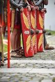 Reenactment z rzymskimi żołnierzy mundurami Obrazy Stock