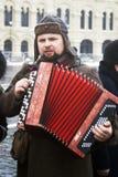 Reenactor在红场执行在莫斯科 免版税库存图片