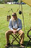 Reenactor at the Confederate encampment at the Battle of Buchanan. Buchanan, VA - April 28th ; Confederate reenactor at the annual Buchanan Civil War History Stock Photography