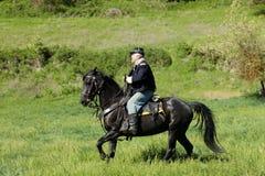 Reenactor del calvary de la unión en caballo Imagen de archivo libre de regalías