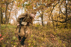 Reenactor Dressed As Russian Soviet Red Army Soldier Of World War II Royalty Free Stock Images