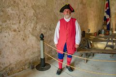 Reenactor dressed as a Spanish soldier of the seventeenth century  in Florida`s Historic Coast. St. Augustine, Florida. March 31 , 2019 . St. Augustine, Florida royalty free stock images