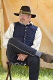 """Reenactor en el acampamento del yanqui en el """"Battle del  de Liberty†- Bedford, Virginia foto de archivo"""
