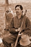 """Reenactor en el acampamento rebelde en el """"Battle del  de Liberty†- Bedford, Virginia Imágenes de archivo libres de regalías"""