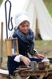 Reenactor kobieta przy Borodino batalistycznym dziejowym reenactment w Rosja Obraz Stock