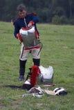 Reenactor man at Borodino battle historical reenactment in Russia Royalty Free Stock Photo