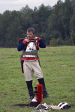 Reenactor man at Borodino battle historical reenactment in Russia Stock Images