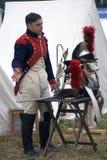 Reenactor man at Borodino battle historical reenactment in Russia Stock Image