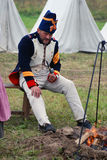 Reenactor man dressed as Napoleonic war soldier portrait Royalty Free Stock Photography