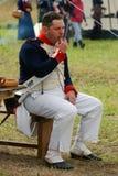 Reenactor man dressed as Napoleonic war soldier portrait Stock Photo