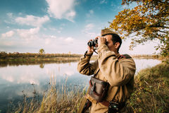 Reenactor Man Dressed As Russian Soviet Red Army Infantry Soldier Stock Photo