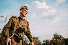 Reenactor Man Dressed As Russian Soviet Red Army Infantry Soldier Stock Photography