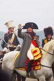 Reenactor playing Napoleon Bonaparte at Borodino Royalty Free Stock Images